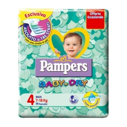 PAMPERS Baby Dry 4 Pannolini Maxi (7-18 kg) - 19pz