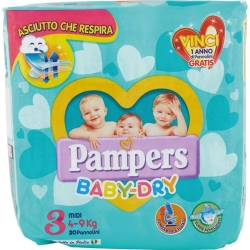 PAMPERS Baby Dray 3 Pannolini Midi (4-9 kg) - 22pz